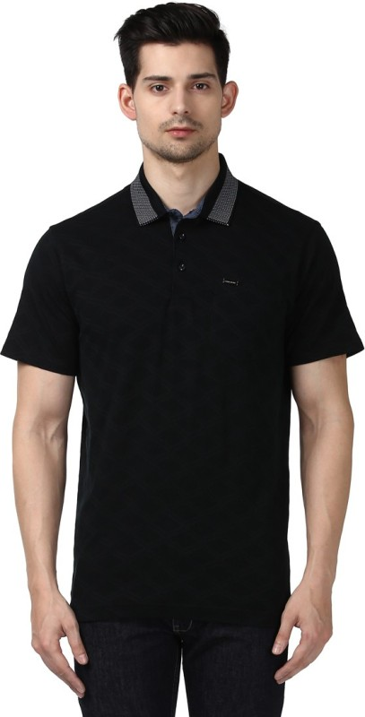 Park Avenue Printed Men Polo Neck Black T-Shirt