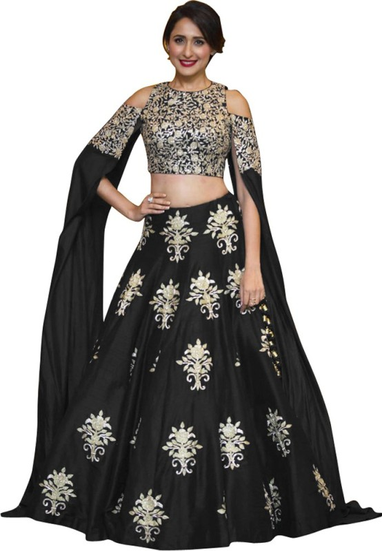 Fabron Art Silk Embroidered Semi-stitched Lehenga Choli Material