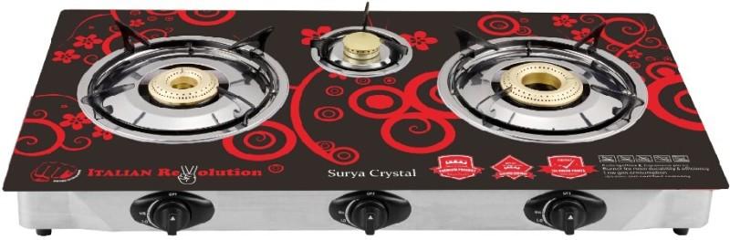 SURYA CRYSTAL Steel, Glass Automatic Gas Stove(3 Burners)