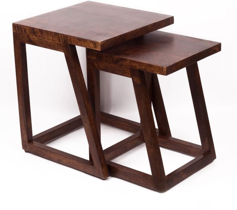 TEZERAC Solid Wood Nesting Table(Finish Color - Walnut, Set of - 2)