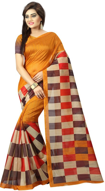 Mac Enterprise Checkered Mooga Handloom Kota Cotton Saree(Yellow, Red, Black)