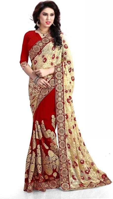 Pragati Fashion Hab Embroidered Fashion Brasso, Net Saree(Multicolor)