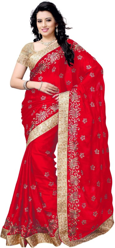 UJJWAL CREATION Embroidered Fashion Satin Saree(Red)