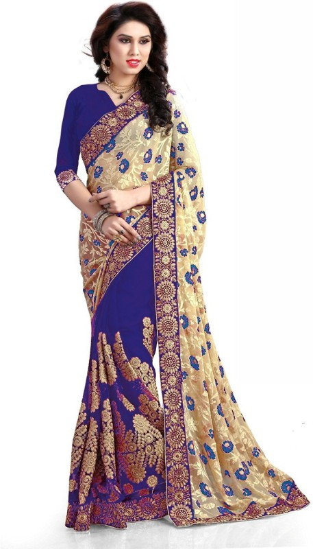 Pragati Fashion Hab Embroidered Fashion Brasso, Net Saree(Blue)