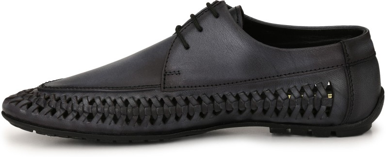 El Paso Black Genuine Leather Lace Up Casual Shoes Outdoors For Men(Black)