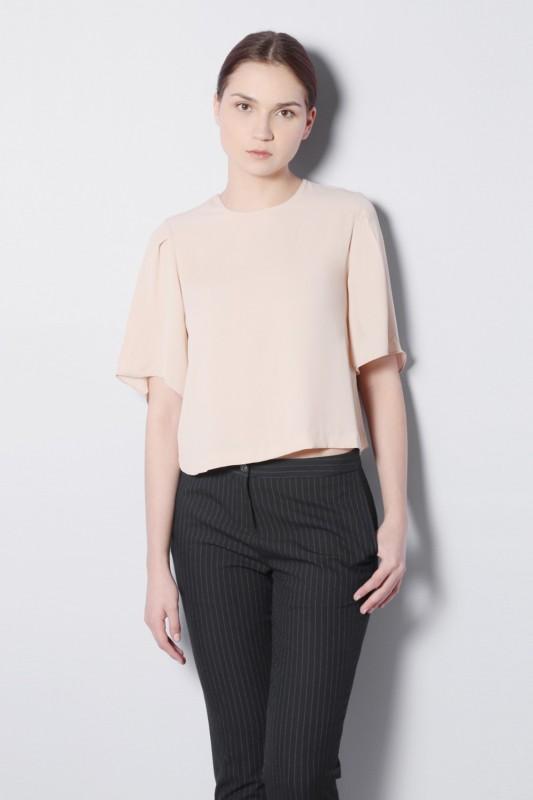 Van Heusen Casual Short Sleeve Solid Women Beige Top
