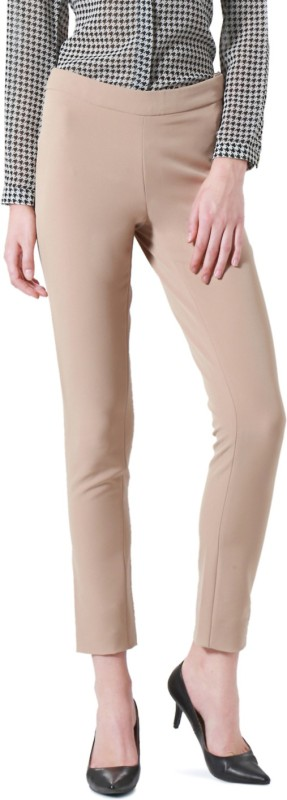 Allen Solly NA, Slim Fit Women Beige Trousers