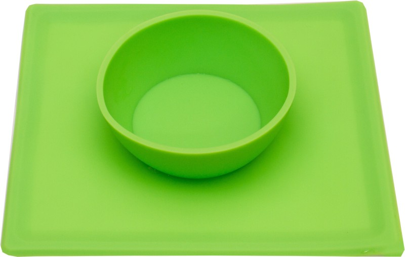 FabSeasons Silicone Food Grade, Non-Toxic and BPA free Suction base Bowl+Placemat 2in1 for Toddlers  - Silicone(Green)