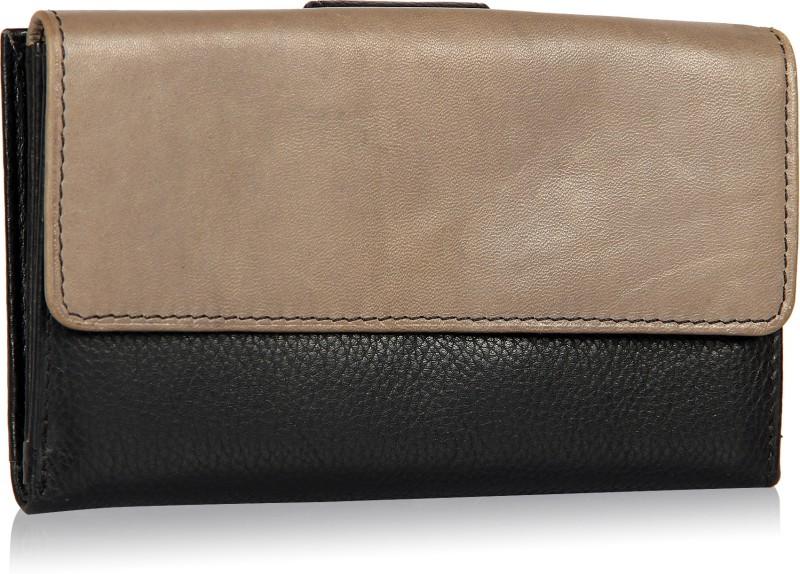Leather Zentrum Women Black Genuine Leather Wallet(7 Card Slots)
