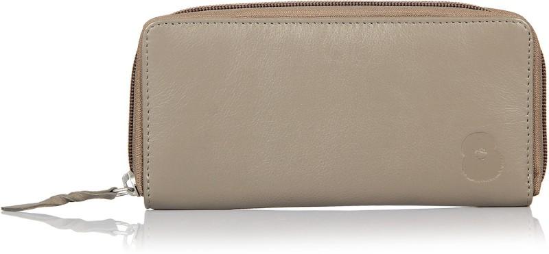 Leather Zentrum Women Grey Genuine Leather Wallet(7 Card Slots)