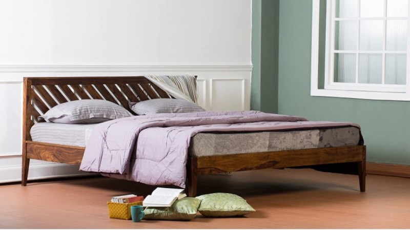 VINTEJ HOME Solid Wood Queen Bed(Finish Color - Brown)