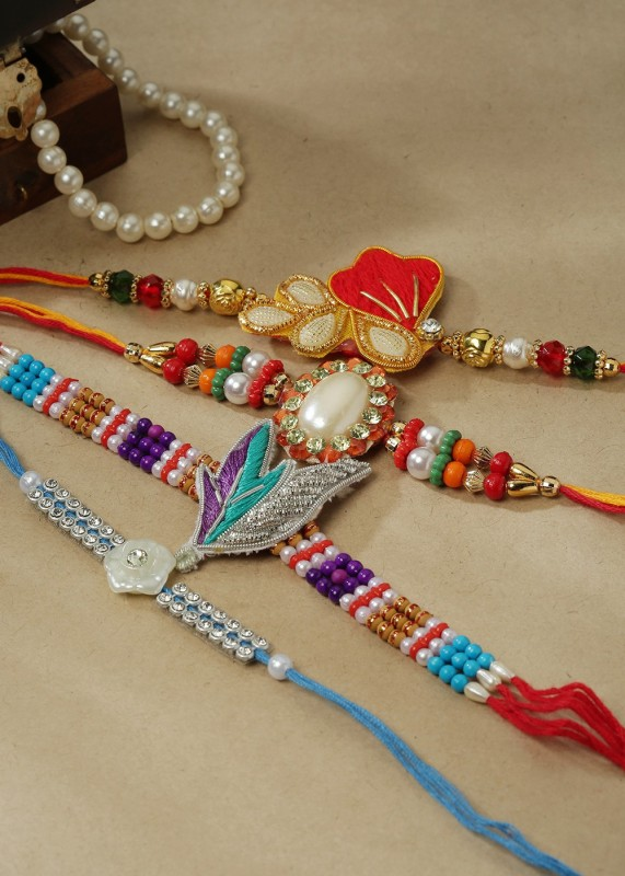 eCraftIndia Designer Rakhi(4 Designer Rakhis for family and 1 festival best wishes card in decorative gift box)