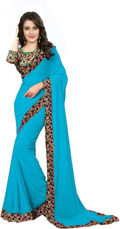 Fabpandora Embellished, Digital Prints Lucknow Chikankari Georgette, Silk Saree(Red, Beige)