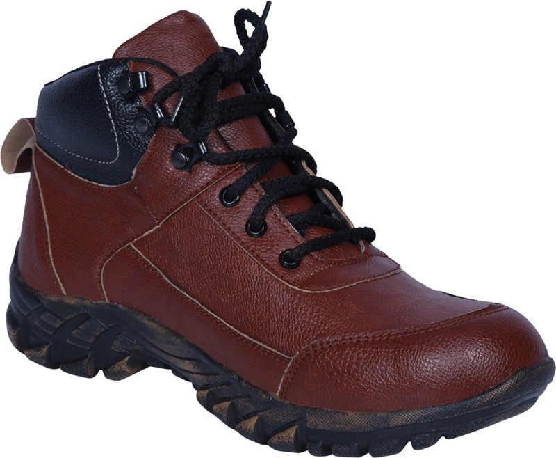 Ramzee Safety Shoes Steel Toe Boots(Black, Brown)