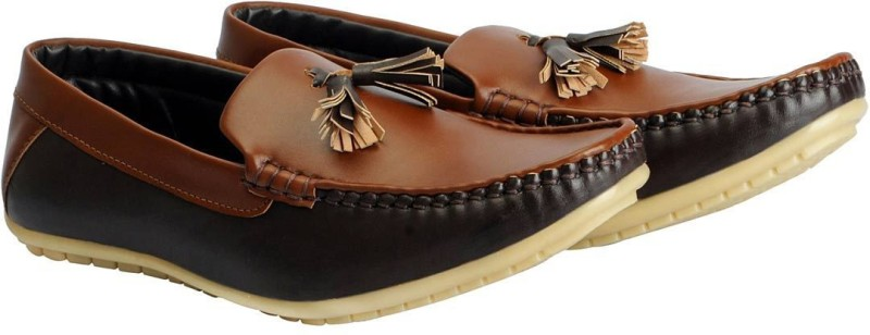 FAUSTO Mens Casual Loafers, Mocassin(Natural)