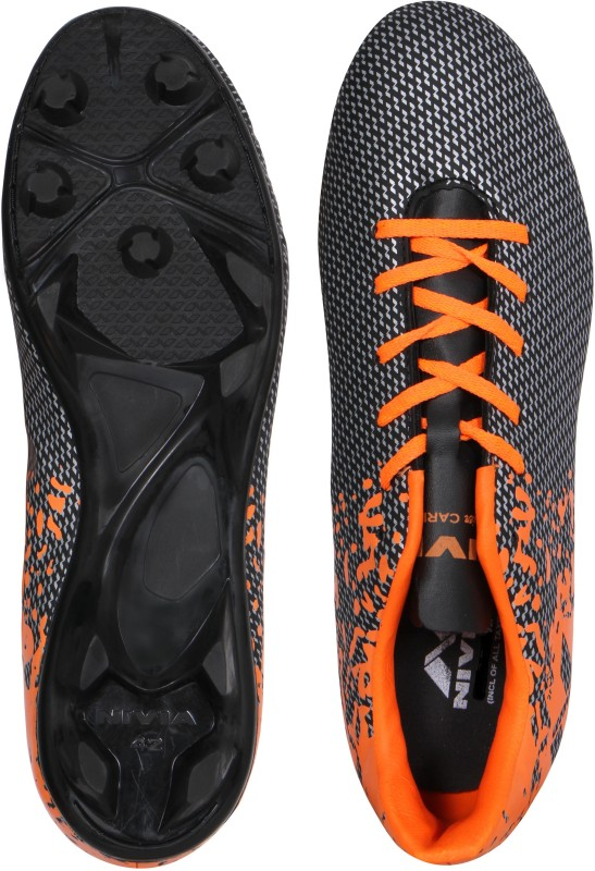 Nivia Premier Carbonite Football Shoes(Black, Orange)