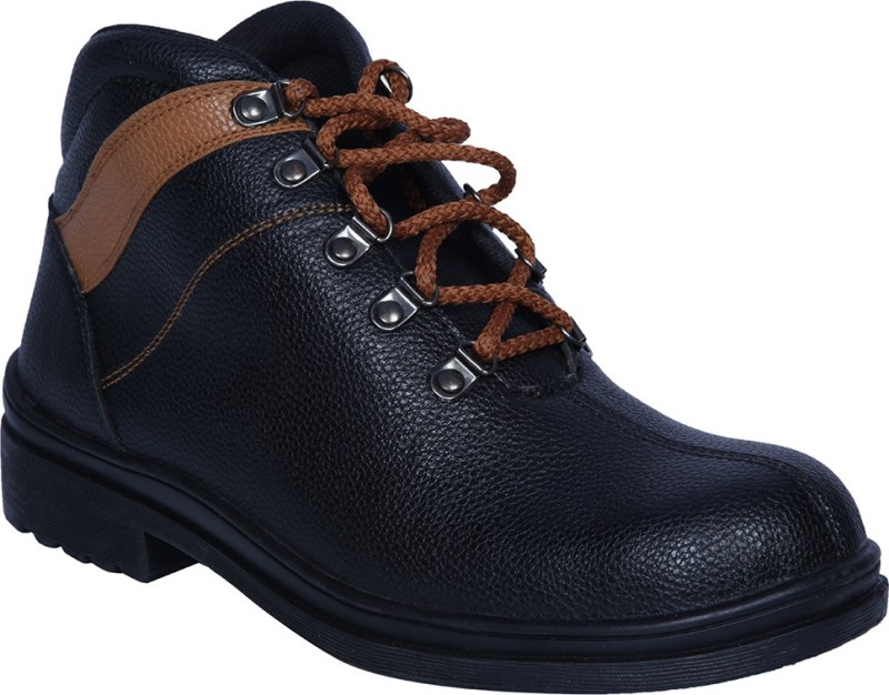 Ramzee Safety Shoes Steel Toe Boots(Tan, Black)