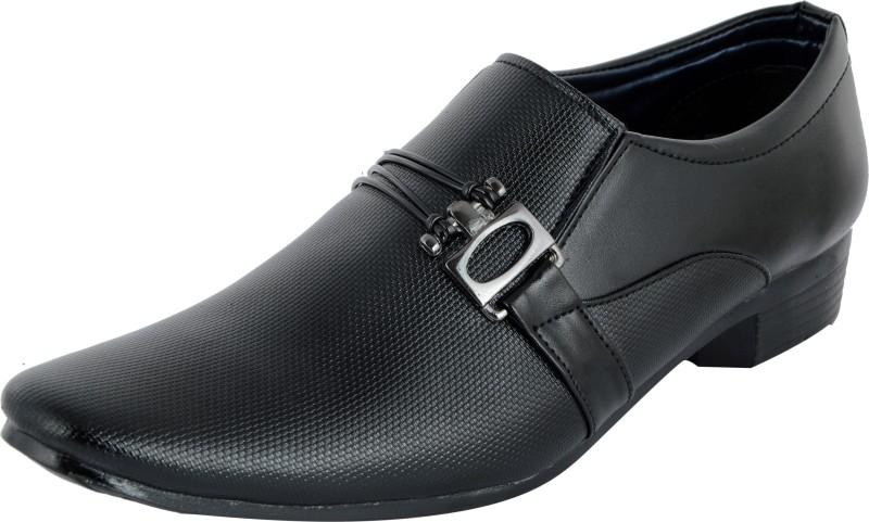 MADOKS Black Formal Shoes Slip On For Men(Black)