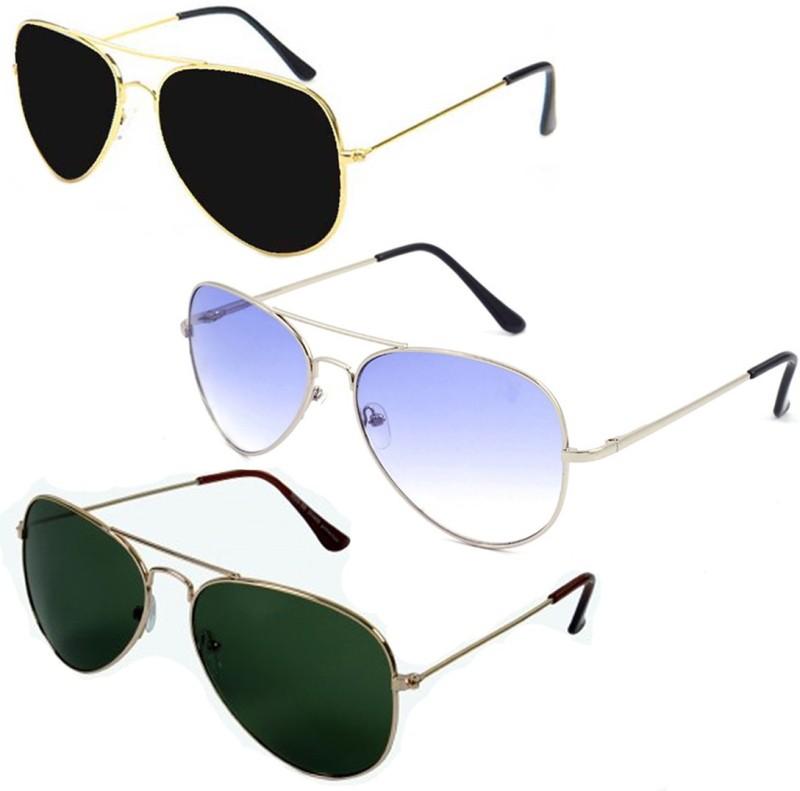 Elligator Aviator Sunglasses(Black, Green, Blue)