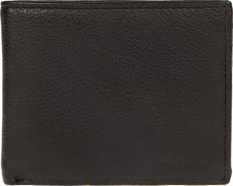 Aditi Wasan Men Black Genuine Leather Wallet(6 Card Slots)