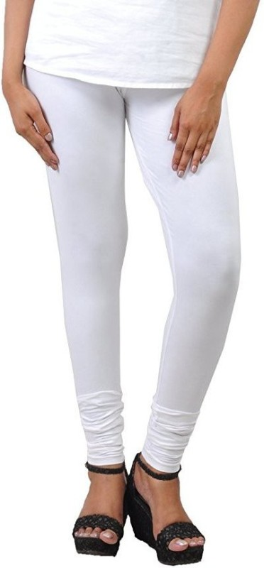 Comfort Lady Churidar  Legging(White, Solid)