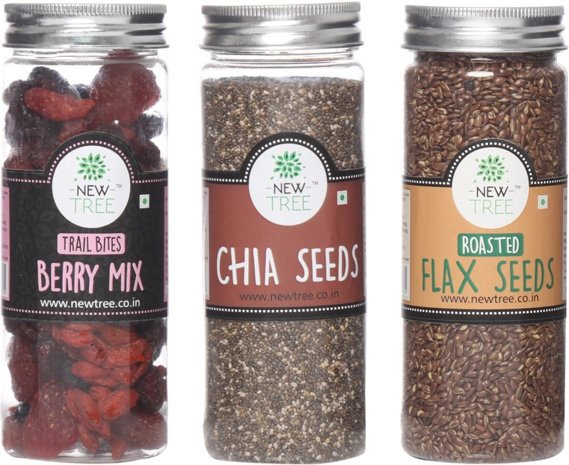 New Tree Trail Bites Berry Mix, Chia Seeds, Roasted Flax Seeds Set of 3 Assorted Nuts(520 g, Plastic Bottle)