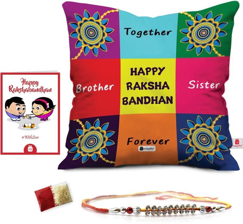 Indigifts Designer Rakhi Set(1 Rakhi for Rakhsabandhan, 1 Cushion Cover, 1 Roli Chawal Packet, 1 Greeting Card)