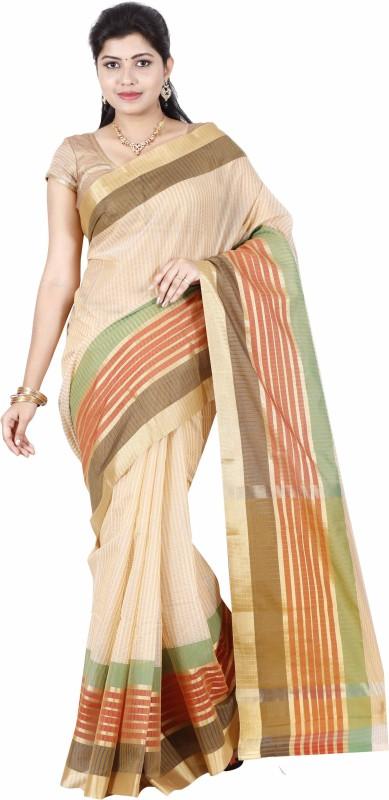 The Chennai Silks Striped Bollywood Cotton Silk Saree(Beige)