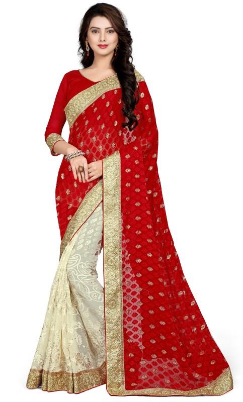 UJJWAL CREATION Embroidered Fashion Brasso Saree(Red, Beige)