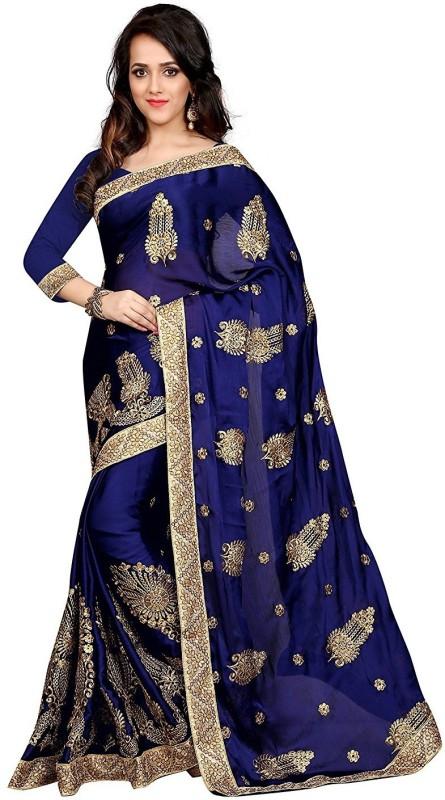 UJJWAL CREATION Embroidered Fashion Satin Saree(Multicolor)