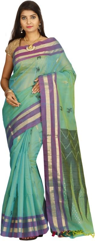 The Chennai Silks Solid Bollywood Cotton Silk Saree(Green)