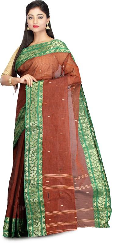 Rudrakshhh Self Design Tant Handloom Cotton Saree(Brown)