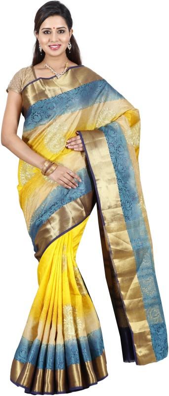 The Chennai Silks Paisley Bollywood Jute Saree(Yellow)