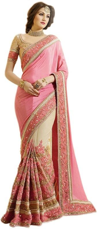 Pragati Fashion Hub Embroidered Fashion Satin, Net Saree(Pink, Beige)
