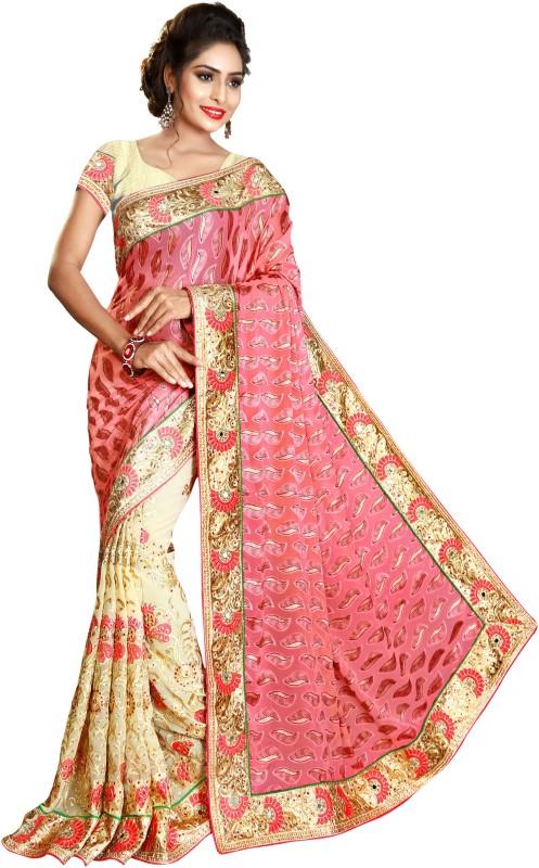 UJJWAL CREATION Embroidered Fashion Brasso Saree(Multicolor)