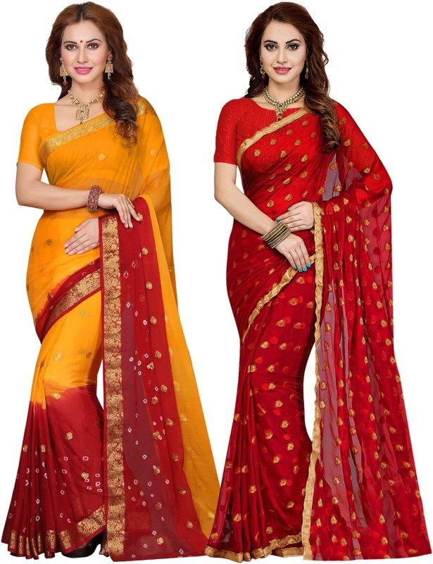 Ishin Printed Bollywood Chiffon Saree(Pack of 2, Multicolor)