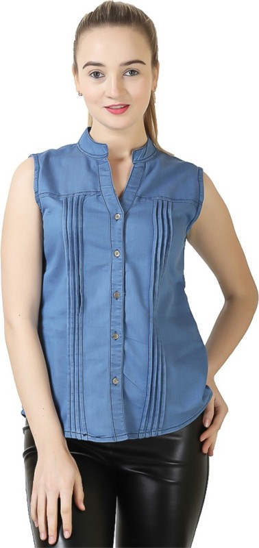 ela collection Casual Sleeveless Solid Women Light Blue Top