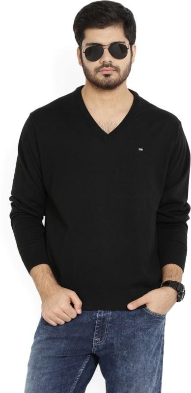 Arrow Sport Solid V-neck Casual Men Black Sweater