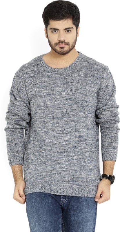 Gant Self Design Round Neck Casual Men Blue, Grey Sweater