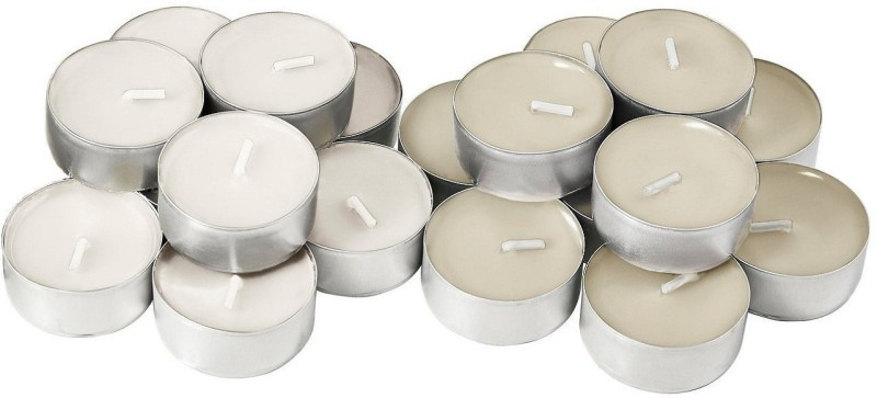 Sayee Long burning Tealight 50 Candle Candle(White, Pack of 50)