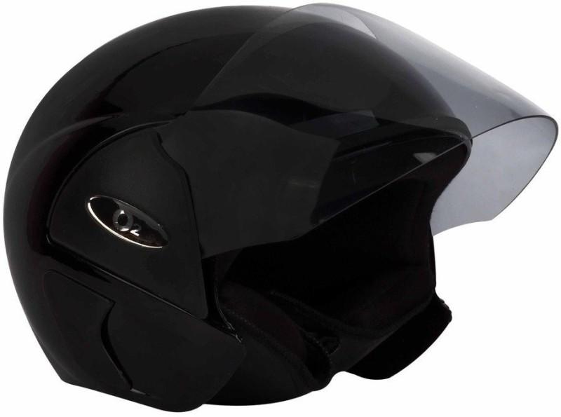 O2 DELUX OPEN FACE Motorbike Helmet(Black)