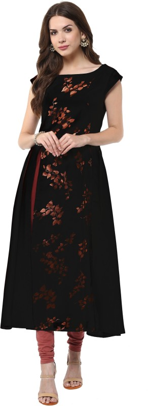 Janasya Festive & Party Floral Print Women Kurti(Black)