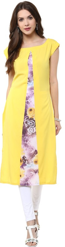 Janasya Casual Floral Print Women Kurti(Yellow)