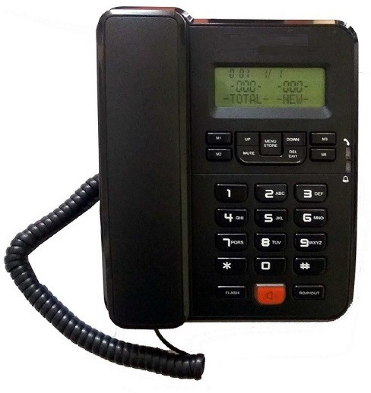 A Connect Z BT-M57 Corded Landline Phone(Black & White)