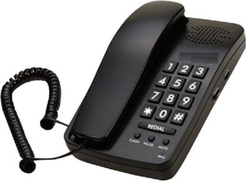 A Connect Z BT-B15 Corded Landline Phone(Black & White)