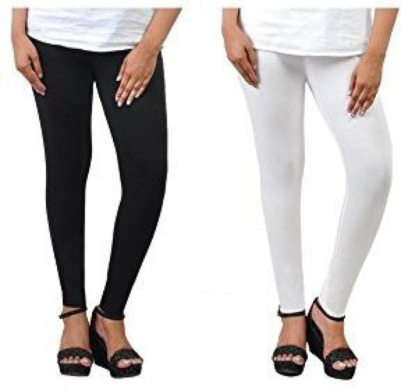 Comfort Lady Ankle Length  Legging(White, Solid)