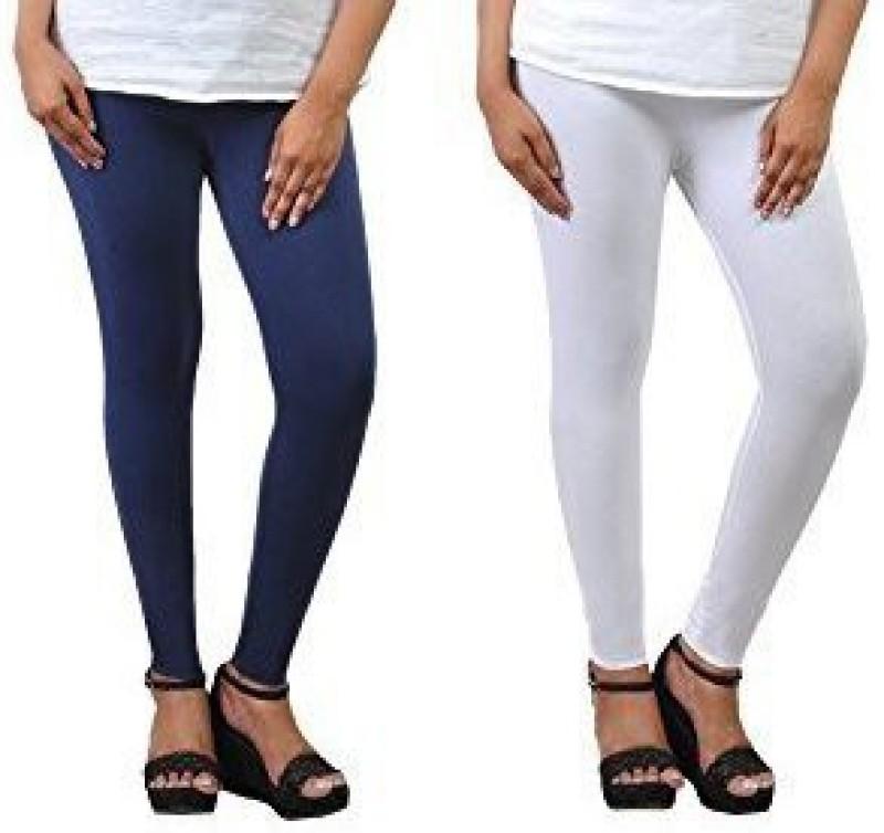 Comfort Lady Ankle Length  Legging(Blue, Solid)