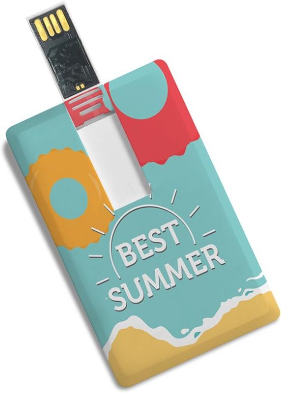 100yellow 8GB Credit Card Shape Best Summer Printed Pen Drive 8 GB Pen Drive(Multicolor)