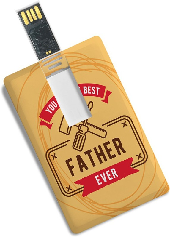 100yellow 16GB Credit Card Shape you're Best Father Ever Print Designer -Gift For Dad 16 GB Pen Drive(Multicolor)