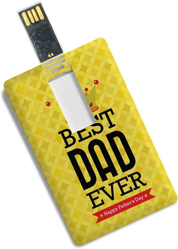 100yellow Credit Card Shape Best Dad Ever Printed Fancy 8GB Pen Drive/Data Storage -Ideal For Father 8 GB Pen Drive(Multicolor)